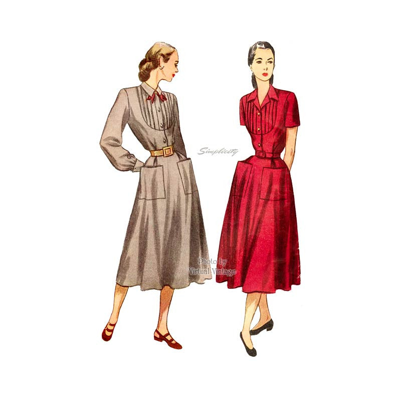 1940s Shirt Dress Sewing Pattern, Simplicity 2285