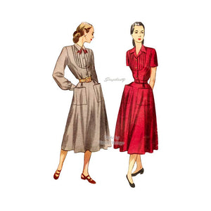 Simplicity 2285 1940s Shirt Dress Sewing Pattern