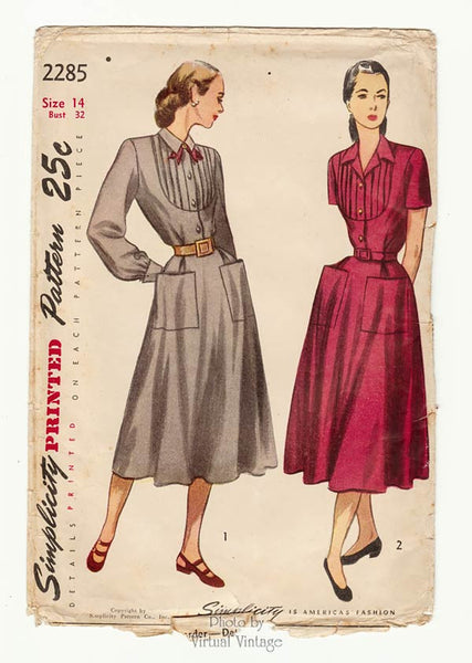 Simplicity 2285, 1940s Shirt Dress Sewing Pattern