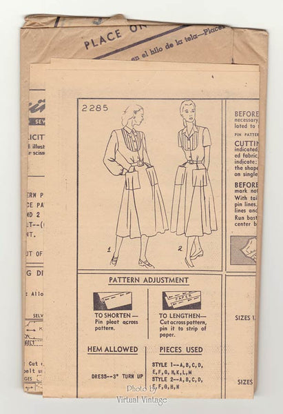 1940s Shirt Dress Sewing Pattern Simplicity 2285 Front Button Fit & Flare Dress with Pockets, Uncut