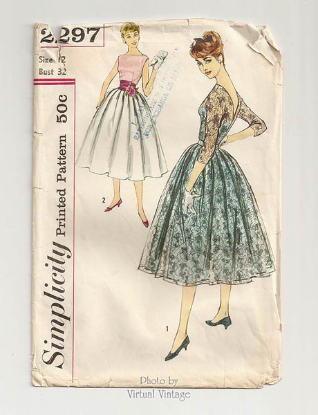 Simplicity 2297, 1950s Lace Dress Pattern