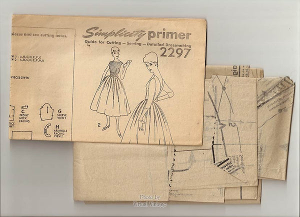 1950s Lace Dress Pattern, Simplicity 2297, Long Sleeve or Sleeveless Dress with Full Skirt & V Back