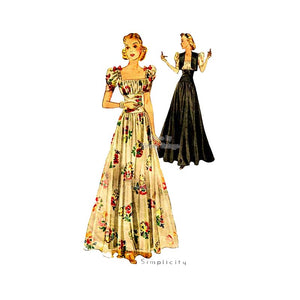 1930's Evening Gown Pattern with Bolero, Simplicity 2787