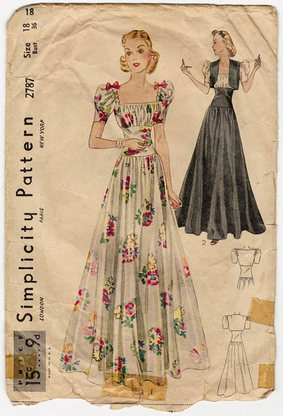 Simplicity 2787, 1930's Evening Gown Pattern with Bolero