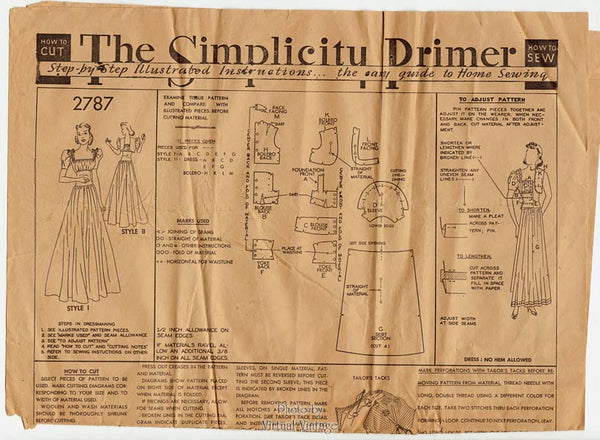 Simplicity 2787, 1930's Evening Gown Pattern with Bolero, Bust 36 Vintage Wedding Dress Pattern