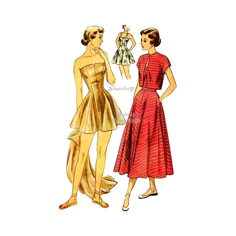 1940s Swimsuit Pattern, Simplicity 2834, Vintage Bathing Suit with Skirt & Bolero Jacket