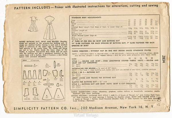 Simplicity 2834, Vintage Bathing Suit Pattern with Skirt & Bolero Jacket