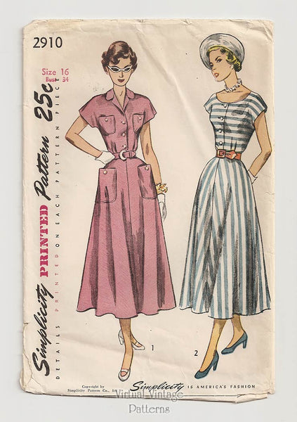 Simplicity 2910, 1940s Dress Sewing Pattern
