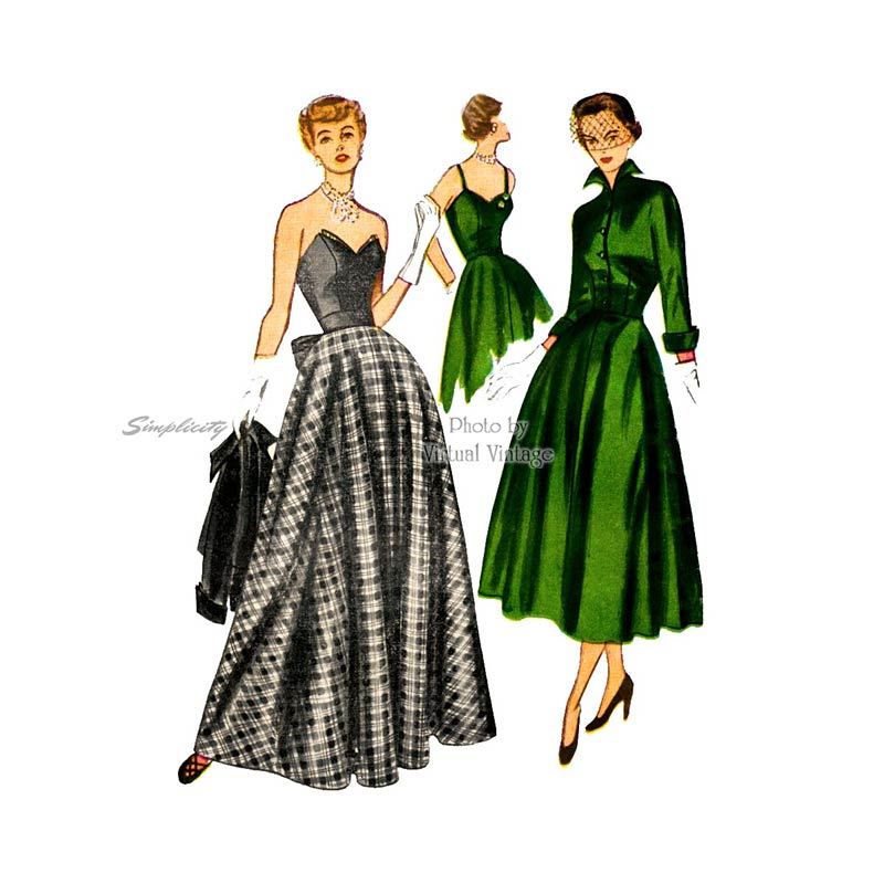 1940s Strapless Evening Gown Pattern, Simplicity 3047