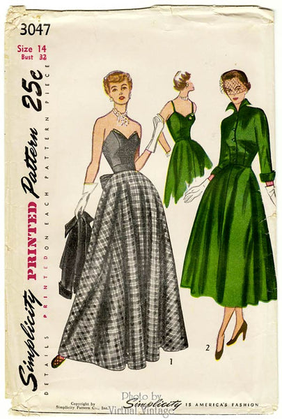 Simplicity 3047, 1940s Strapless Evening Gown Pattern