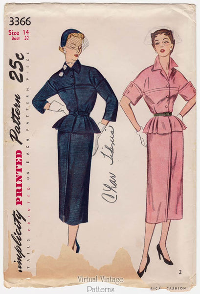 Simplicity 3366, 1950s Peplum Dress Pattern