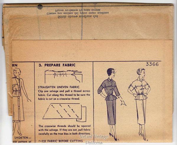 50s Peplum Dress Pattern, Simplicity 3366, Two Piece Suit Dress Vintage Sewing Pattern, Uncut