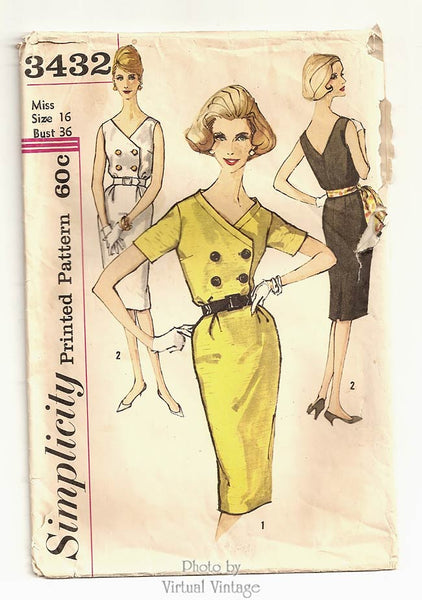 Simplicity 3432, Vintage 1960s Sheath Dress Pattern