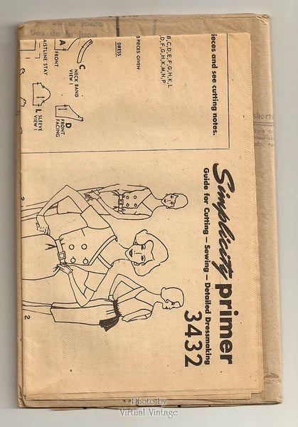 Vintage Sheath Dress Pattern, Simplicity 3432, Short Sleeve or Sleeveless Dress, Bust 36, Uncut