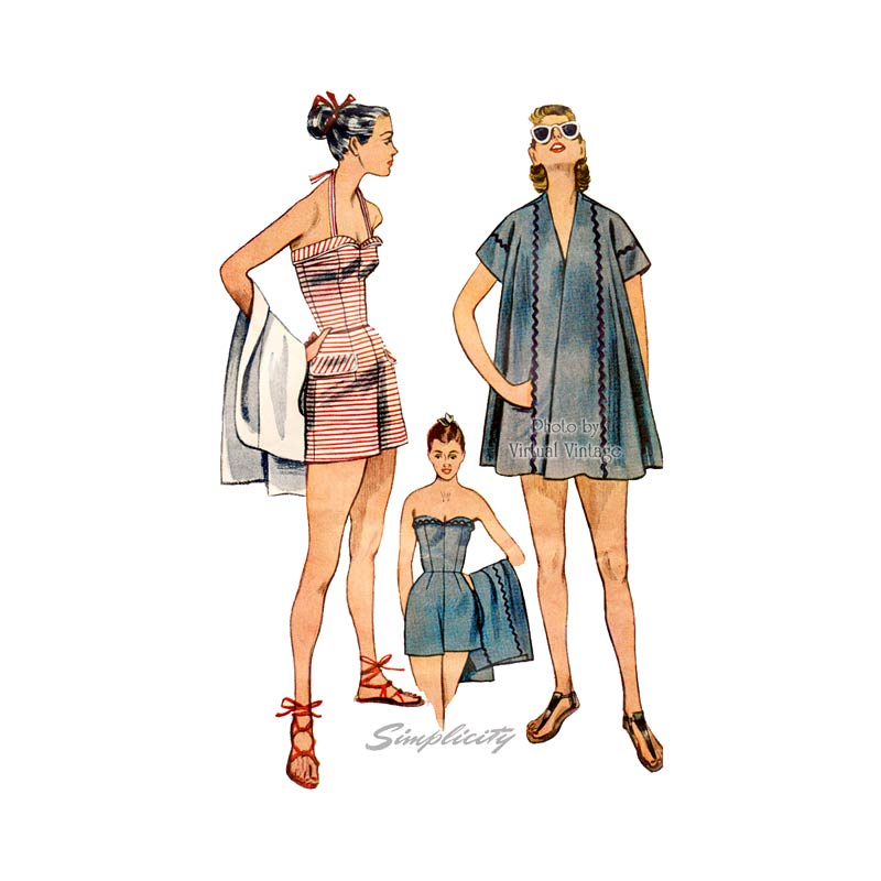 1950s Strapless Bathing Suit Pattern, Simplicity 3899