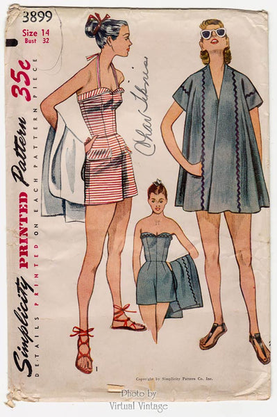 Simplicity 3899, 1950s Strapless Bathing Suit Pattern, Retro Swimsuit
