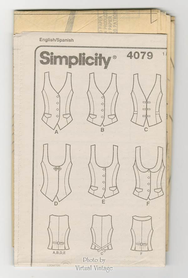 Womens Vest Pattern Simplicity 4079 Easy to Sew Lined Vests Sizes 14 t