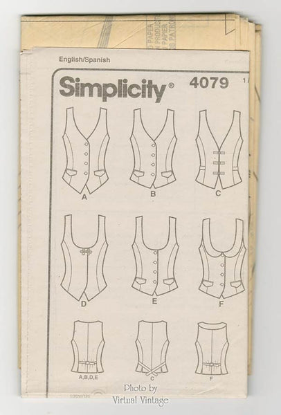 Womens Vest Pattern Simplicity 4079 Easy to Sew Lined Vests Sizes 14 to 22