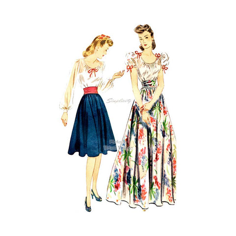 1940s Vintage Sewing Pattern, Simplicity 4262