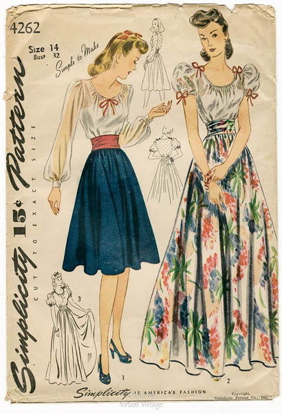 Simplicity 4262, 1940s Peasant Blouse & Skirt Sewing Pattern