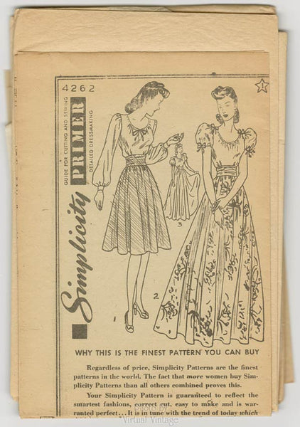 1940s Vintage Sewing Pattern, Simplicity 4262, Peasant Blouse and Full Skirt, Easy Sewing Patterns
