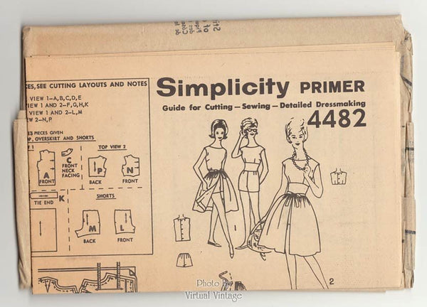 1960s Womens Playsuit Pattern Simplicity 4482 Midriff Top, Shorts, Blouse, Overskirt, Bust 36, Uncut
