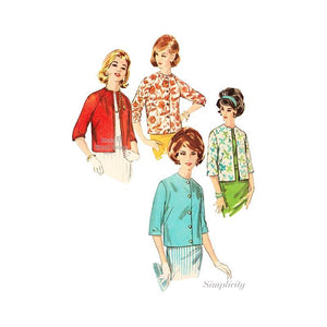 Vintage Simplicity 4848 Easy Sewing Pattern Womens Lined Jackets Bust 34 Uncut FF