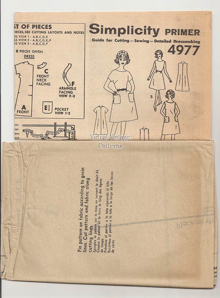 Vintage A Line Dress Pattern, Simplicity 4977, Easy Sewing Shift Dress, Uncut, Bust 34 to 36