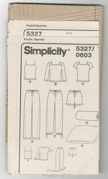 Yoga Clothes Simplicity 5327 Womens Camisole, Top, Shorts, Knit Pants Pattern plus Pillow & Cover, Bust 34 to 40