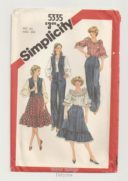 Womens Western Wear Pattern, Simplicity 5335, Ruffle Blouse, Skirt, Pants, Vest