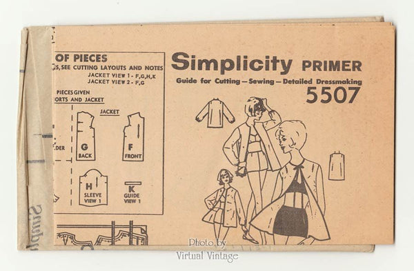 Simplicity 5507 1960s Beach Jacket & Bathing Suit Pattern, Two Piece Bra Top Swimsuit, Uncut