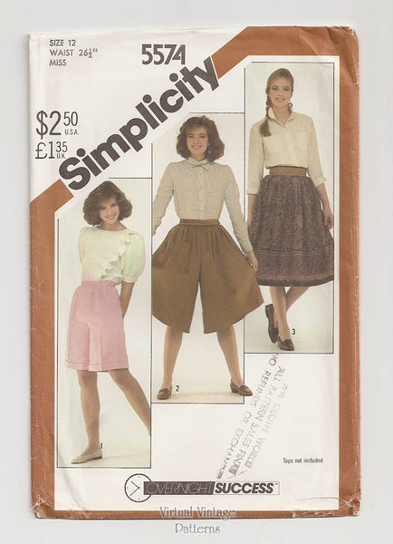 Simplicity 5574 Womens Culottes Sewing Pattern with Pleated Skirt & Shorts