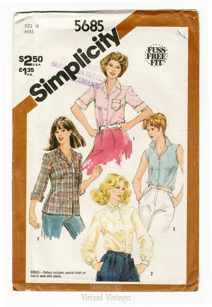 Simplicity 5685, Womens Shirt Sewing Pattern, Bust 40