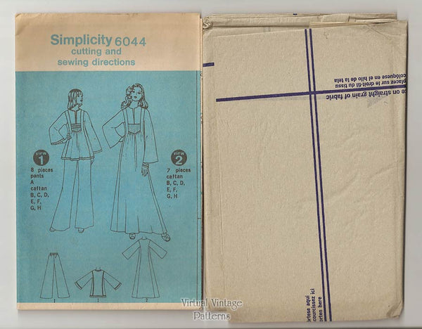 Womens Caftan Sewing Pattern, Simplicity 6044, Long or Short Kaftan & Pants, Uncut