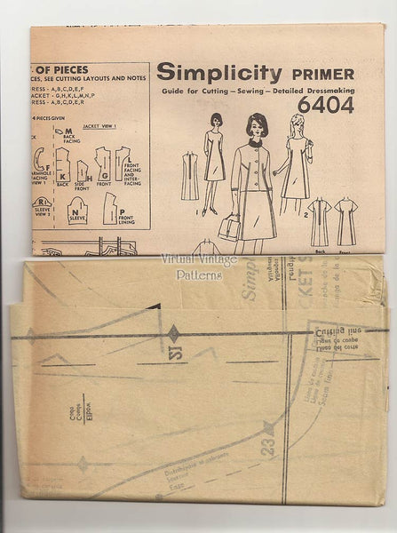 1960s Dress Pattern with Jacket, Simplicity 6404, A Line Suit Dress, Bust 34, Uncut