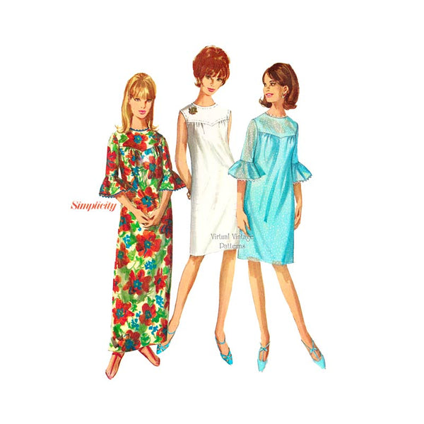 60s Ruffle Sleeve Maxi Dress Pattern, Simplicity 6445