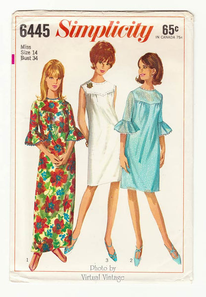 Simplicity 6445 , 60s Ruffle Sleeve Shift or Maxi Dress Pattern