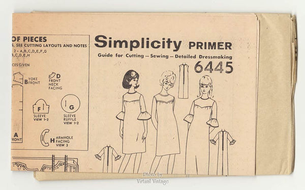 60s Ruffle Sleeve Maxi Dress Pattern Simplicity 6445 Sleeveless Shift or Evening Dress Bust 34 Uncut