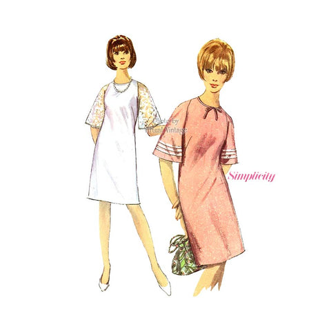Vintage 1960s Shift Dress Sewing Pattern, Simplicity 6534
