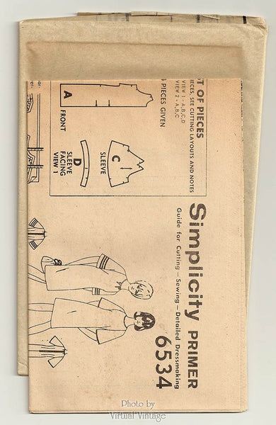 Vintage 1960s Shift Dress Sewing Pattern, Simplicity 6534, Bell Sleeve Dress Pattern, Bust 34, Uncut