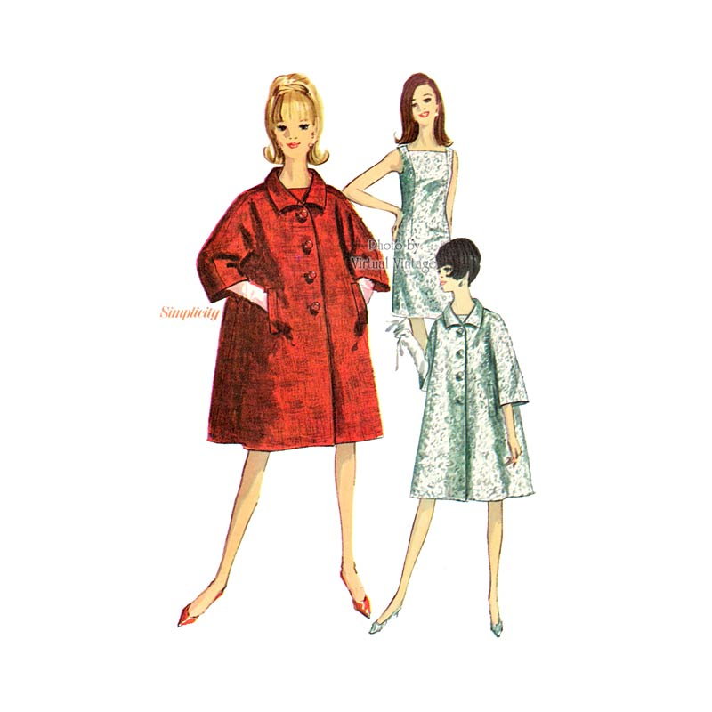 1960s Trapeze Coat Pattern with Shift Dress Simplicity 6790
