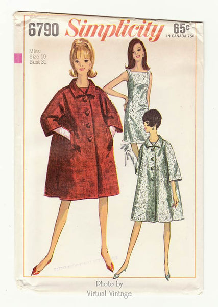 1960s Trapeze Coat Pattern with Shift Dress Simplicity 6790, Bust 31