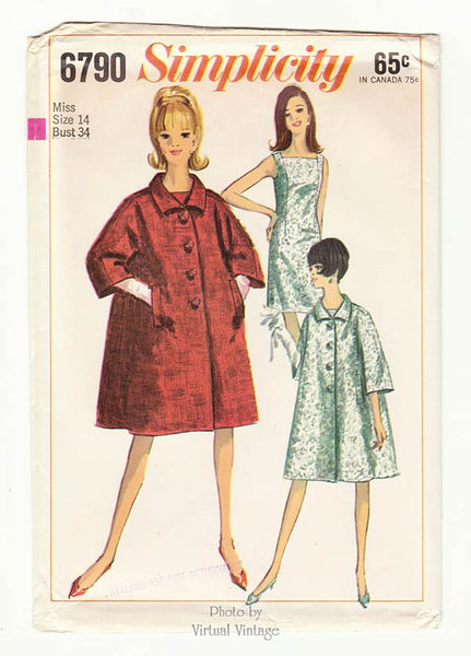 Simplicity 6790, 1960s Trapeze Coat Pattern with Shift Dress, Bust 34