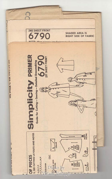 1960s Trapeze Coat Pattern with Shift Dress, Simplicity 6790, Vintage Sewing Patterns, Uncut
