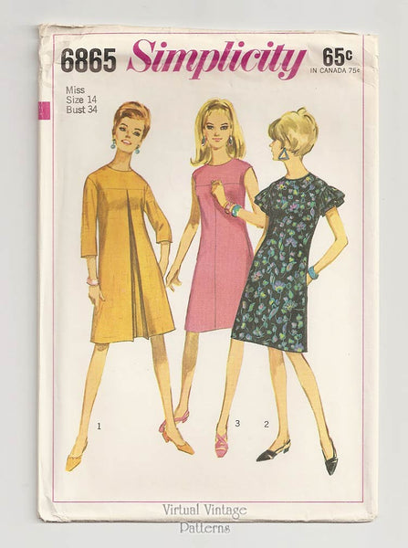 Simplicity 6865, Vintage Pleated Tent Dress Pattern