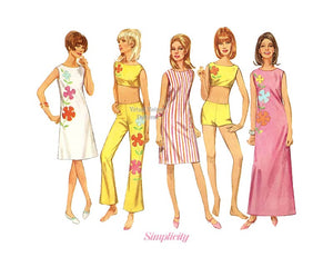 1960s Sewing Pattern, Simplicity 7017, Hip Hugger Bell Bottoms, Crop Top, Shorts & Dress