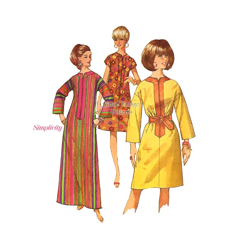 1960s Caftan Dress Pattern, Simplicity 7018