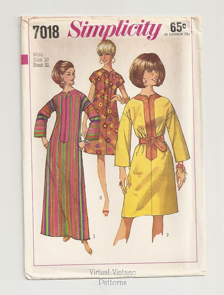 Simplicity 7018, 1960s Caftan Dress Pattern