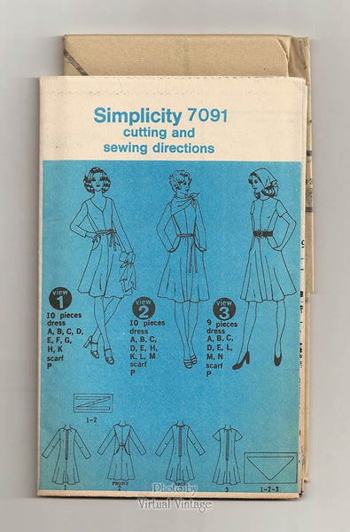 Vintage Fit & Flare Dress Pattern, Simplicity 7091, 1970s V Neck Dress Sewing Pattern, Uncut