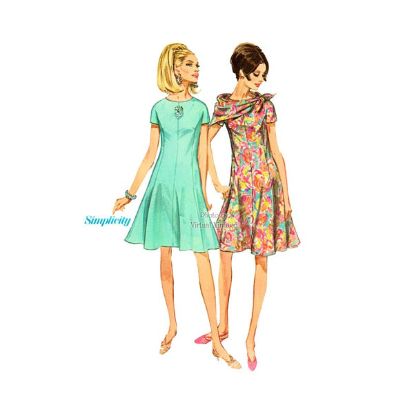 60's Flare Dress Pattern with Scarf, Simplicity 7122